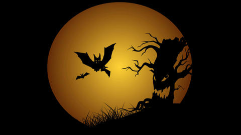 Halloween animation with moon evil spooky scary horror tree and bats Footage