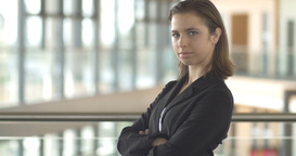 Confident Corporate Business Woman Person In Office Building stock footage