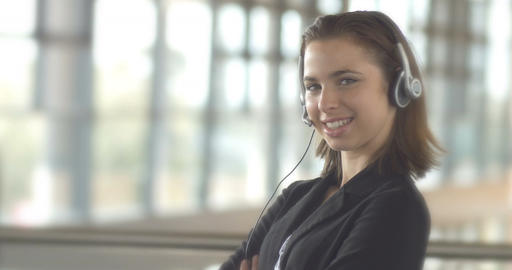 Call centre customer service support operator business woman with headset Footage