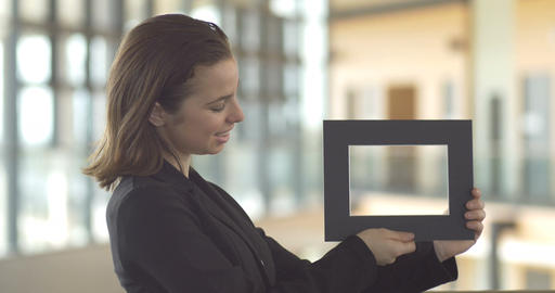 Holding frames for sales promotion customer service design logo Footage