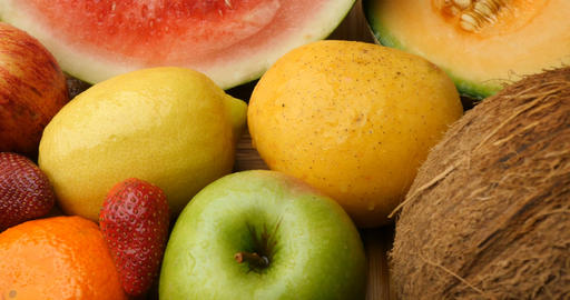 Health Fresh Natural Fruit Food Assorted Colors stock footage