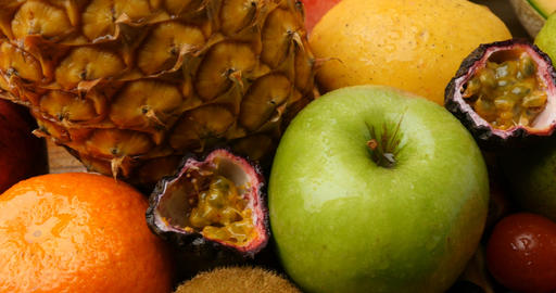 Juicy Colourful Natural Fruit Food For Health Diet stock footage
