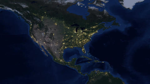USA - United States of America lights from space day - night zoom Footage