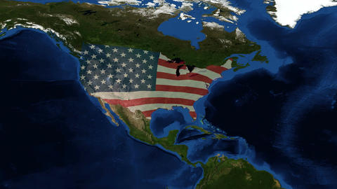 United States of America - USA Map - from space Live Action