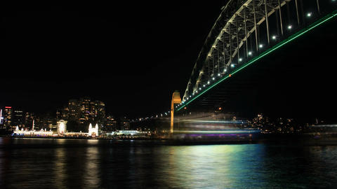 Sydney Harbour Bridge Australia Night City Landscape establishing shot Footage