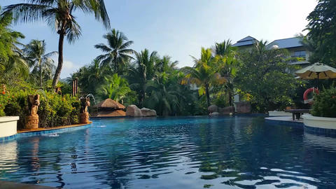 Tropical Hotel Resort Pool - Luxury Holiday stock footage
