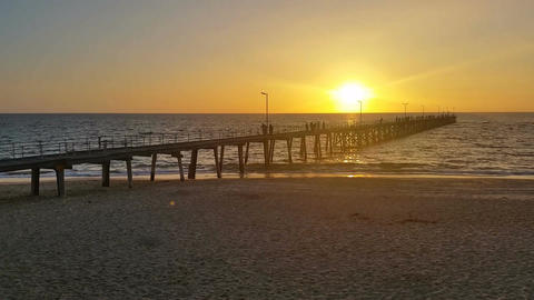 Jetty Sunset over ocean South Australia Footage