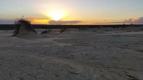 Lake Mungo Australian Outback Desert Landscape Sunset Footage