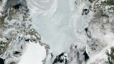 Arctic - North Pole - Slow Zoom from space Footage