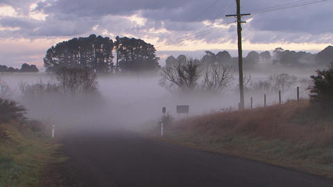 Country Road Pan, Fog, Mist Live Action