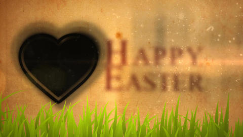 Happy Easter Animation with Easter Bunny Icons Footage