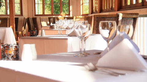Restaurant Dining Setting stock footage