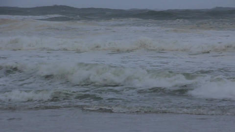 Stormy Ocean Sea With Crashing Waves And Cyclone Hurricane Winds stock footage