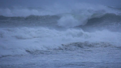 Stormy Ocean Sea with Crashing Waves and Cyclone Hurricane Winds Footage
