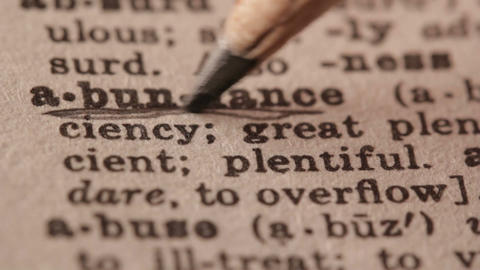 Abundance - Fake dictionary definition of the word with pencil underline Live Action