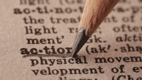 Action - Fake dictionary definition of the word with pencil underline Live Action
