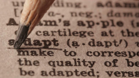 Adapt - Fake dictionary definition of the word with pencil underline Live Action