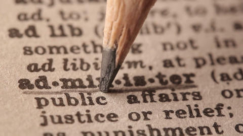 Administer - Fake dictionary definition of the word with pencil underline Live Action