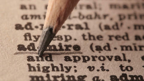 Admire - Fake dictionary definition of the word with pencil underline Live Action