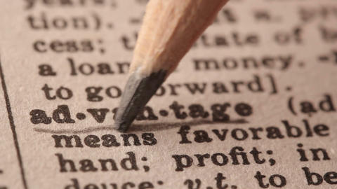 Advantage - Fake dictionary definition of the word with pencil underline Footage