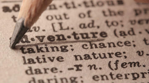 Adventure - Fake dictionary definition of the word with pencil underline Footage