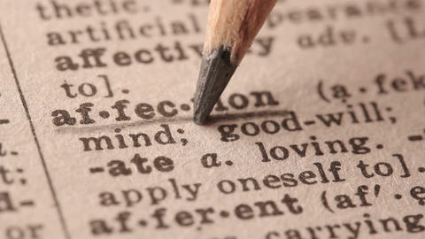 Affection - Fake dictionary definition of the word with pencil underline Live Action