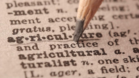 Agriculture - Fake Dictionary Definition Of The Word With Pencil Underline stock footage