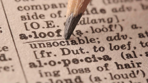 Aloof - Fake dictionary definition of the word with pencil underline Live Action