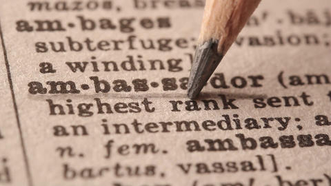 Ambassador - Fake dictionary definition of the word with pencil underline Live Action