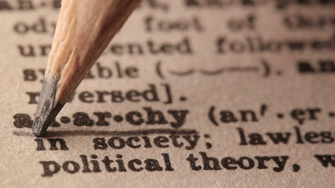 Anarchy - Fake dictionary definition of the word with pencil underline Footage