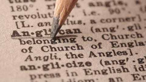 Anglican - Fake dictionary definition of the word with pencil underline Footage