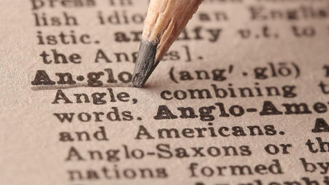 Anglo - Fake dictionary definition of the word with pencil underline Footage
