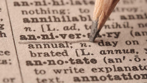Anniversary - Fake dictionary definition of the word with pencil underline Live Action