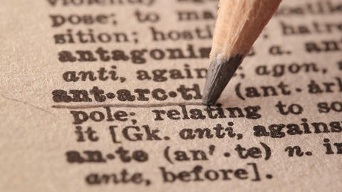 Antarctic - Fake dictionary definition of the word with pencil underline Live Action