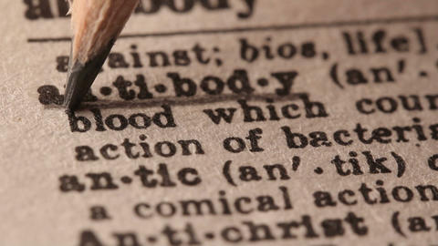 Antibody - Fake dictionary definition of the word with pencil underline Live Action