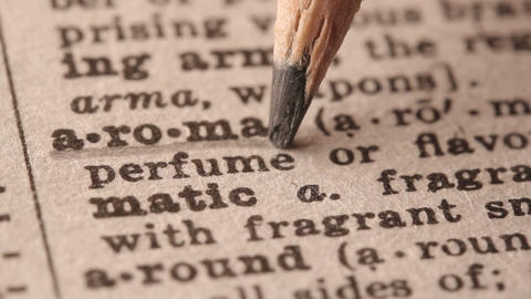 Aroma - Fake Dictionary Definition Of The Word With Pencil Underline stock footage