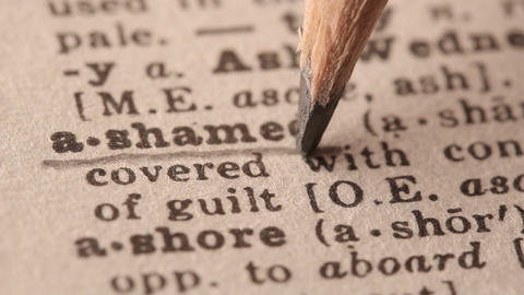 Ashamed - Fake dictionary definition of the word with pencil underline Live Action