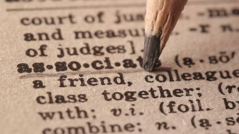 Associate - Fake dictionary definition of the word with pencil underline Live Action