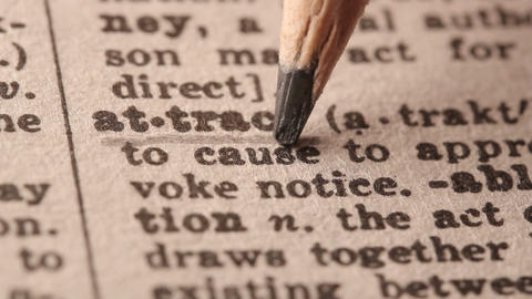 Attract - Fake dictionary definition of the word with pencil underline Live Action