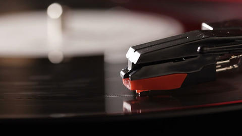 Record player retro turntable that plays vinyl vintage records Live Action