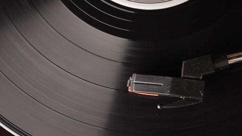 vinyl record played on vintage record turntable player Footage