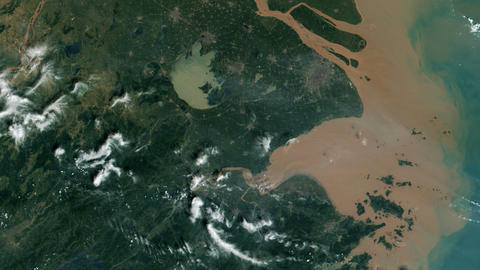 Mouth of the Yangtze CHINA From Space Live Action