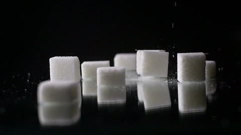 White Palm Sugar Cubes Glucose Sweetener Slowmo Footage