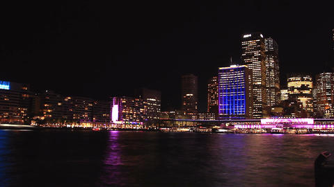Sydney City Building Skyline Night Timelapse Vivid Festival establishing shot Footage
