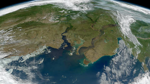 The Earth - Ob and Yenisei Rivers in north-central Russia from space Live Action