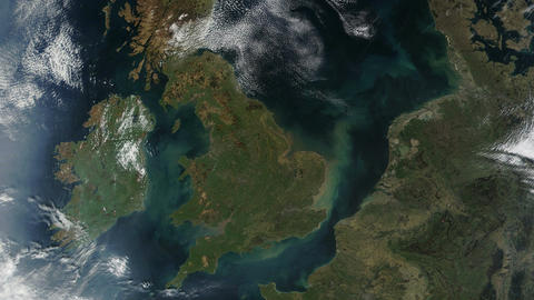 United Kingdom UK From Space with Wales and Ireland Footage