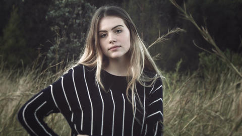 female model woman posing for glamour portrait fashion Footage