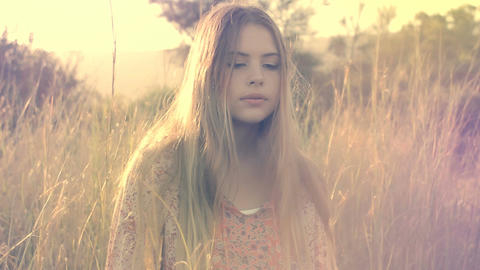 Beautiful Young Girl Artistic Portrait Fashion Model In Long Grass Footage
