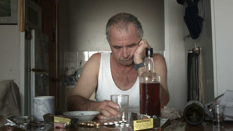 Alcoholic Man Suffering Drug Effects of Alcoholism and Depression Live Action