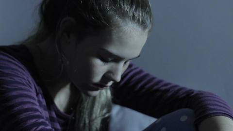 Teen Depression Cyber Bullying and Internet Social Media Effects Footage